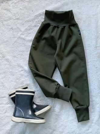 Nohavice softshellové zateplené khaki Kiwi