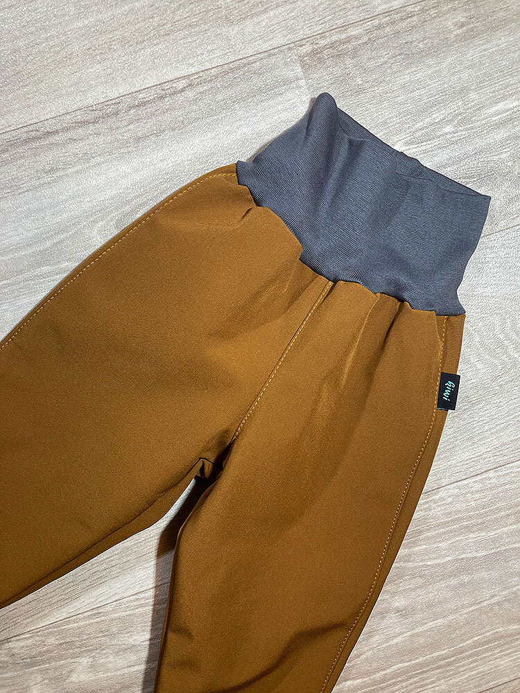 Nohavice softshellové zateplené karamelové Kiwi