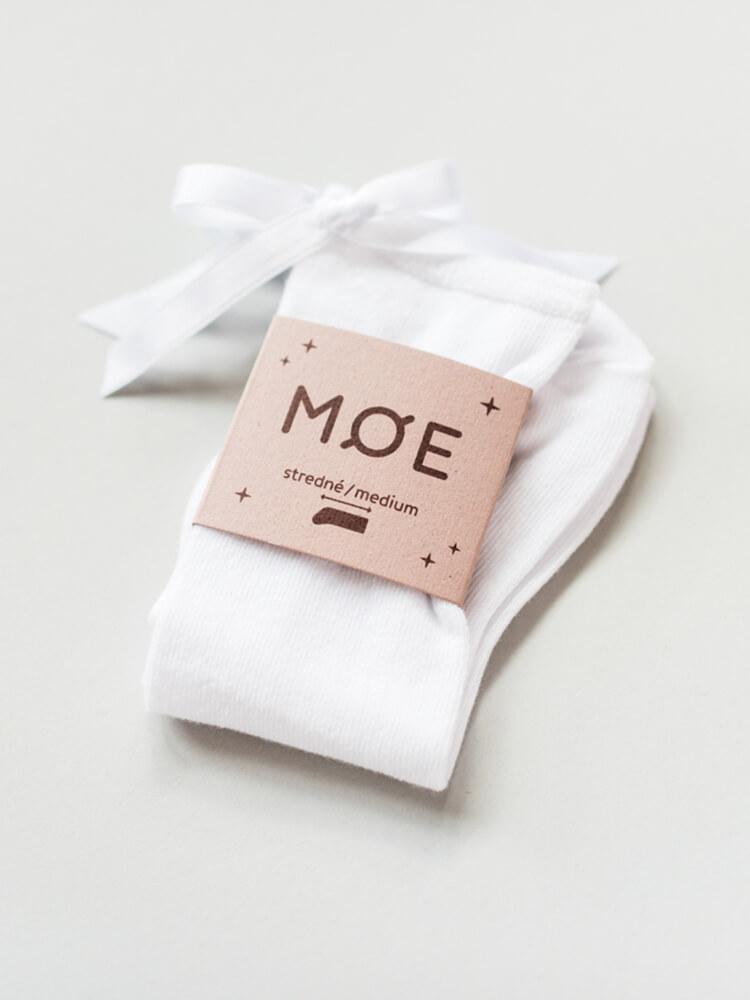 Podkolienky biele s bielou mašličkou Moe
