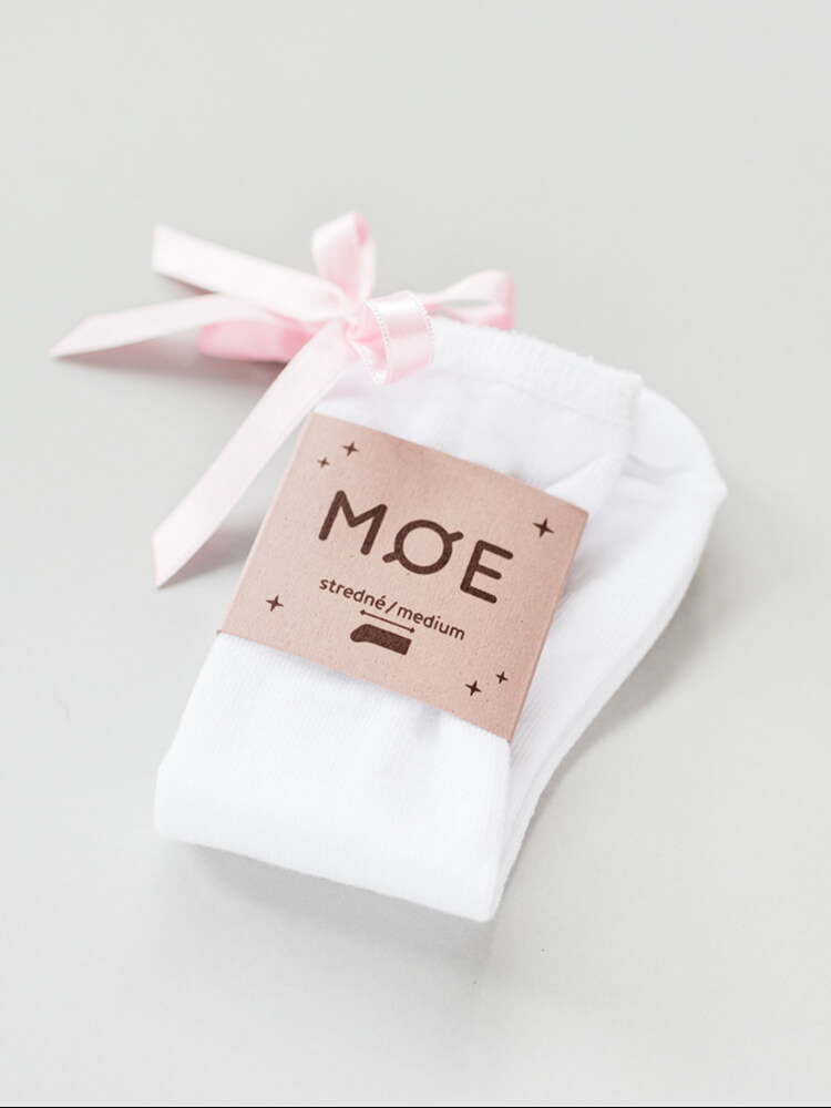Podkolienky biele s ružovou mašličkou Moe