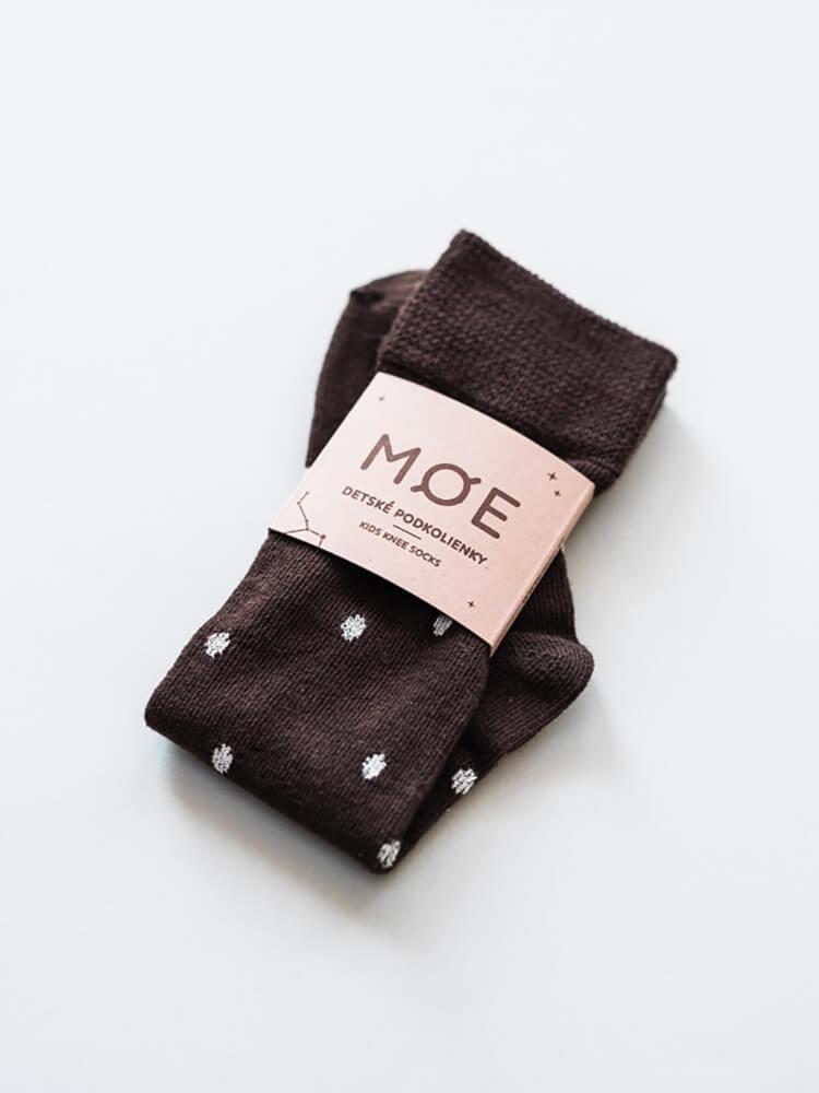 Podkolienky hnedé s bodkami Moe