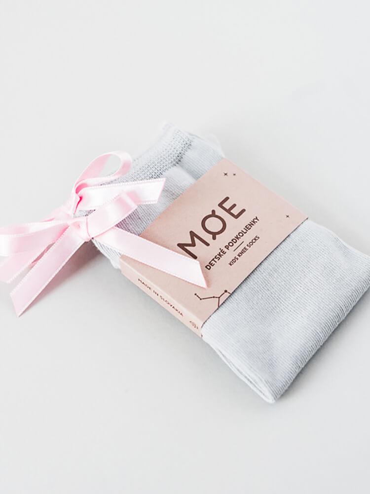 Podkolienky sivé s ružovou mašličkou Moe