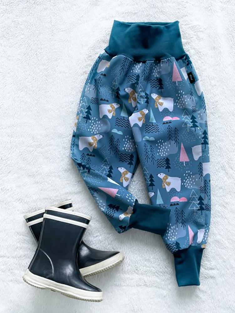 Nohavice softshellové zateplené Ľadový medvedík Kiwi
