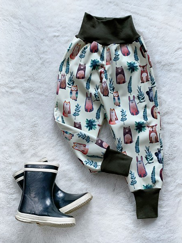 Nohavice softshellové zateplené Lesné zvieratká Kiwi