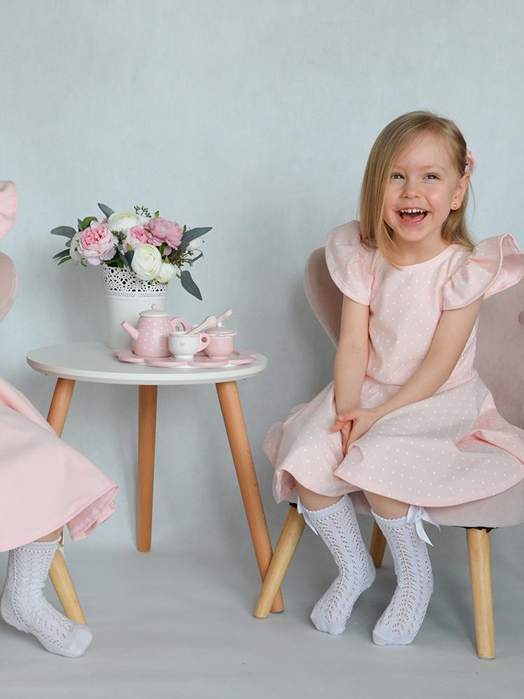 Šaty Barborka ružové s bielymi bodkami Hole